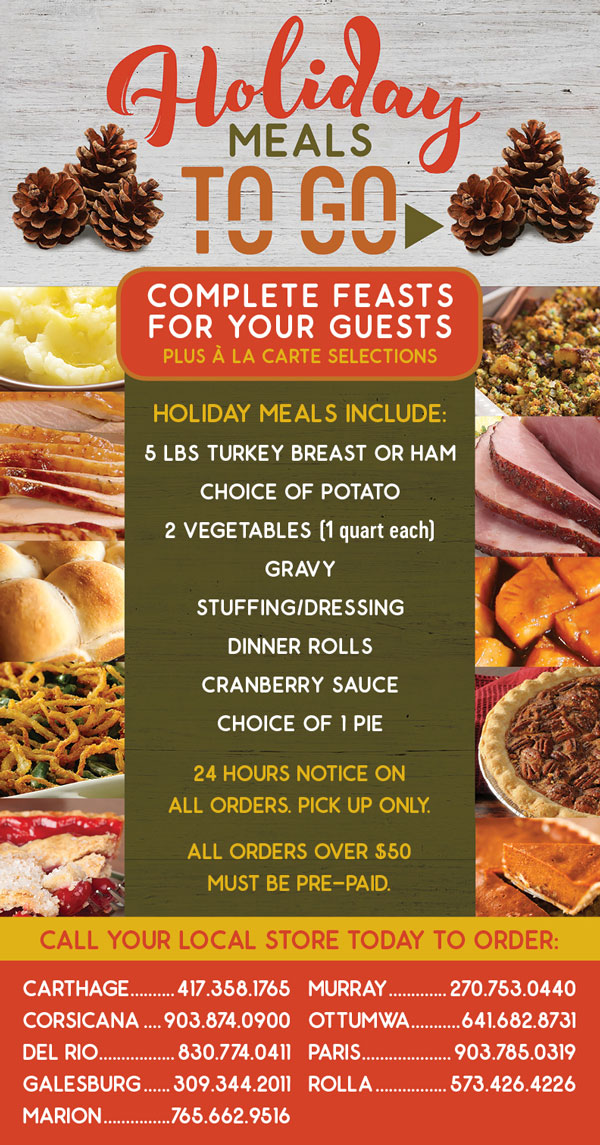 2018 Holiday Meals at Sirloin Stockade
